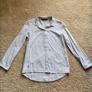 Zara Striped Long Sleeve Button Down Shirt Sz XS